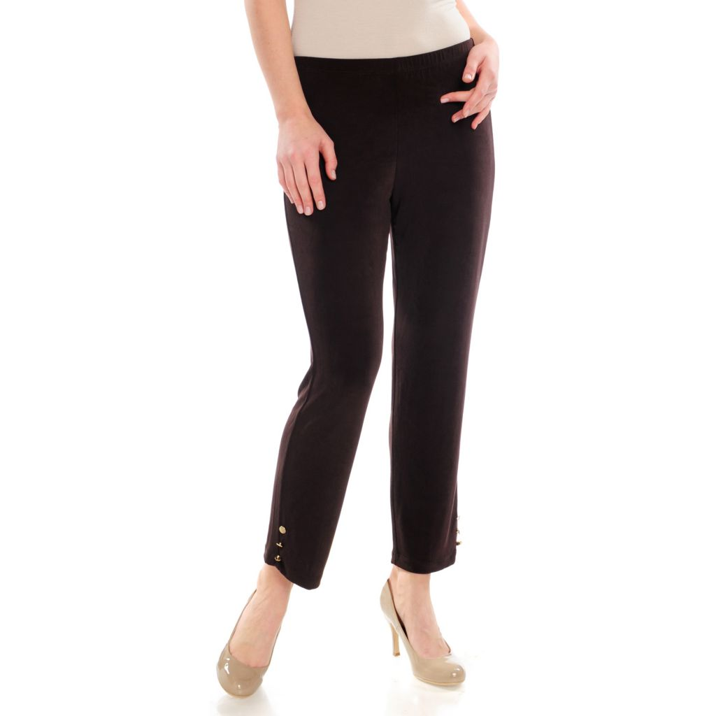 714-384 - Affinity for Knits™ Elastic Waist Button Detailed Ankle Pants