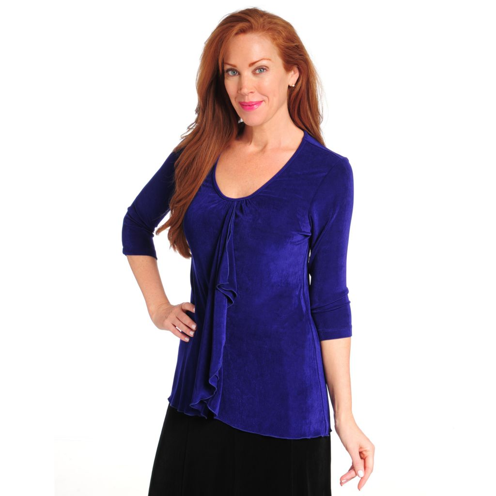 714-387 - Affinity for Knits™ 3/4 Sleeved V-Neck Ruffle Front Top