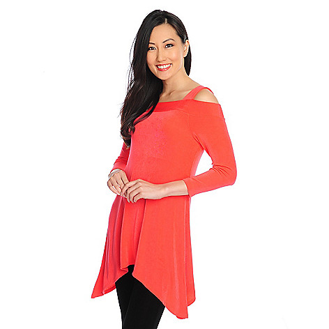 714-388 - Affinity for Knits™ 3/4 Sleeved Sharkbite Hem Cold Shoulder Top