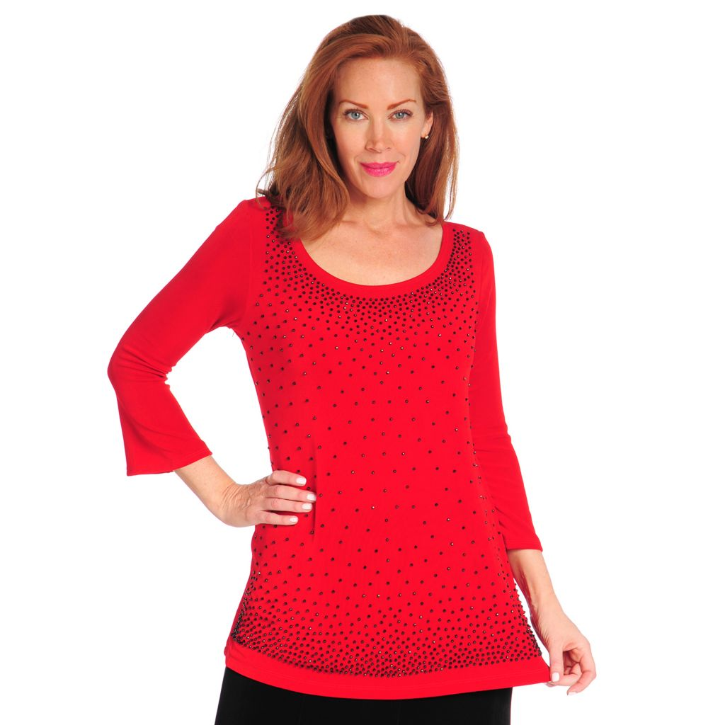 714-390 - Affinity Travel Knits™ 3/4 Sleeved Caviar Beaded Scoop Neck Top