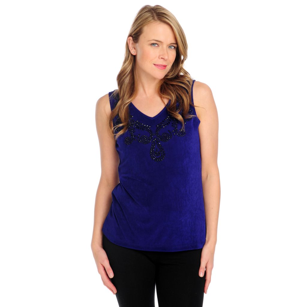 714-391 - Affinity Travel Knits™ Embellished V-Neck Tank Top