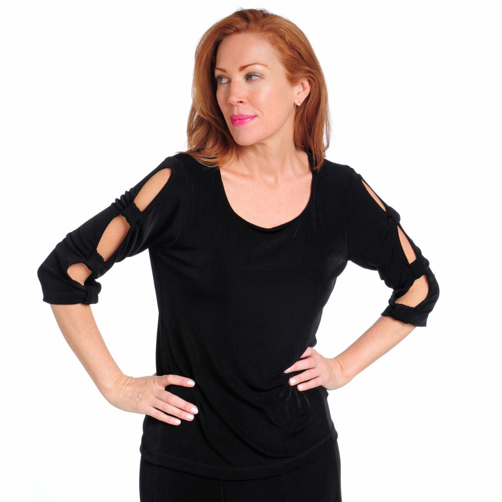 714-392 - Affinity for Knits™ Lattice Sleeved Scoop Neck Top