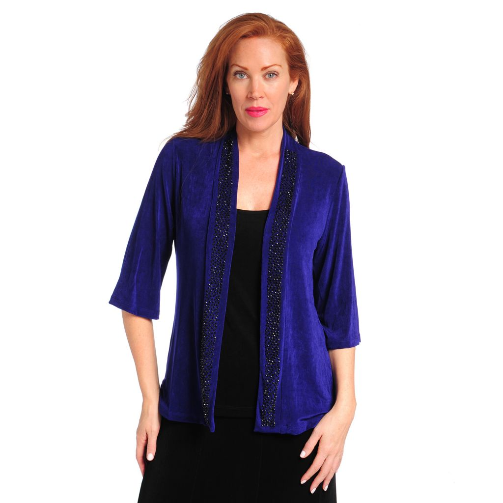 714-398 - Affinity for Knits™ 3/4 Sleeved Bead Embellished Open Cardigan