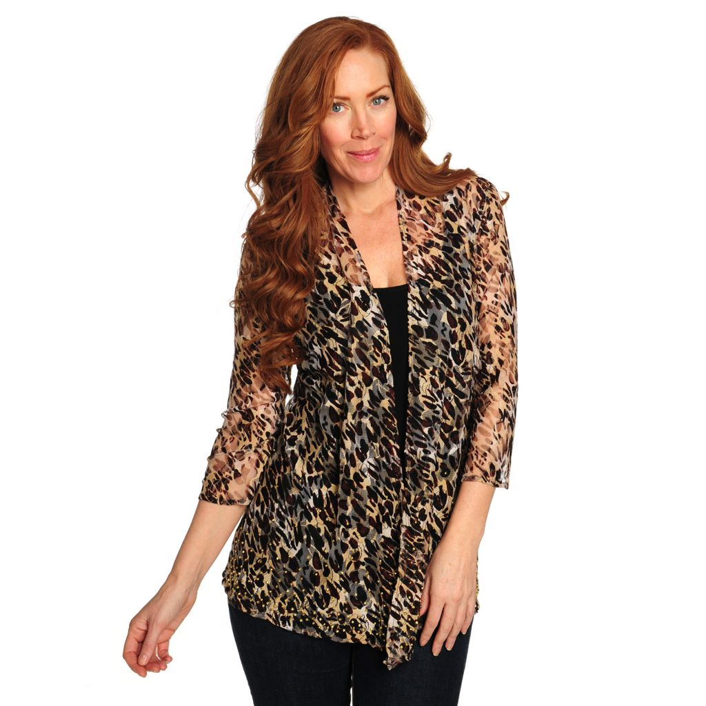 714-405 - Love, Carson by Carson Kressley Lace 3/4 Sleeved Embellished Printed Cardigan