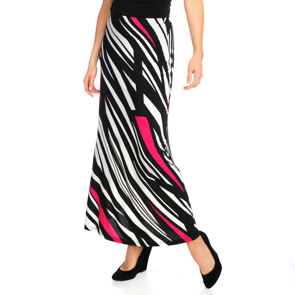 714-408 - Love, Carson by Carson Kressley Printed Knit Elastic Waistband Maxi Skirt