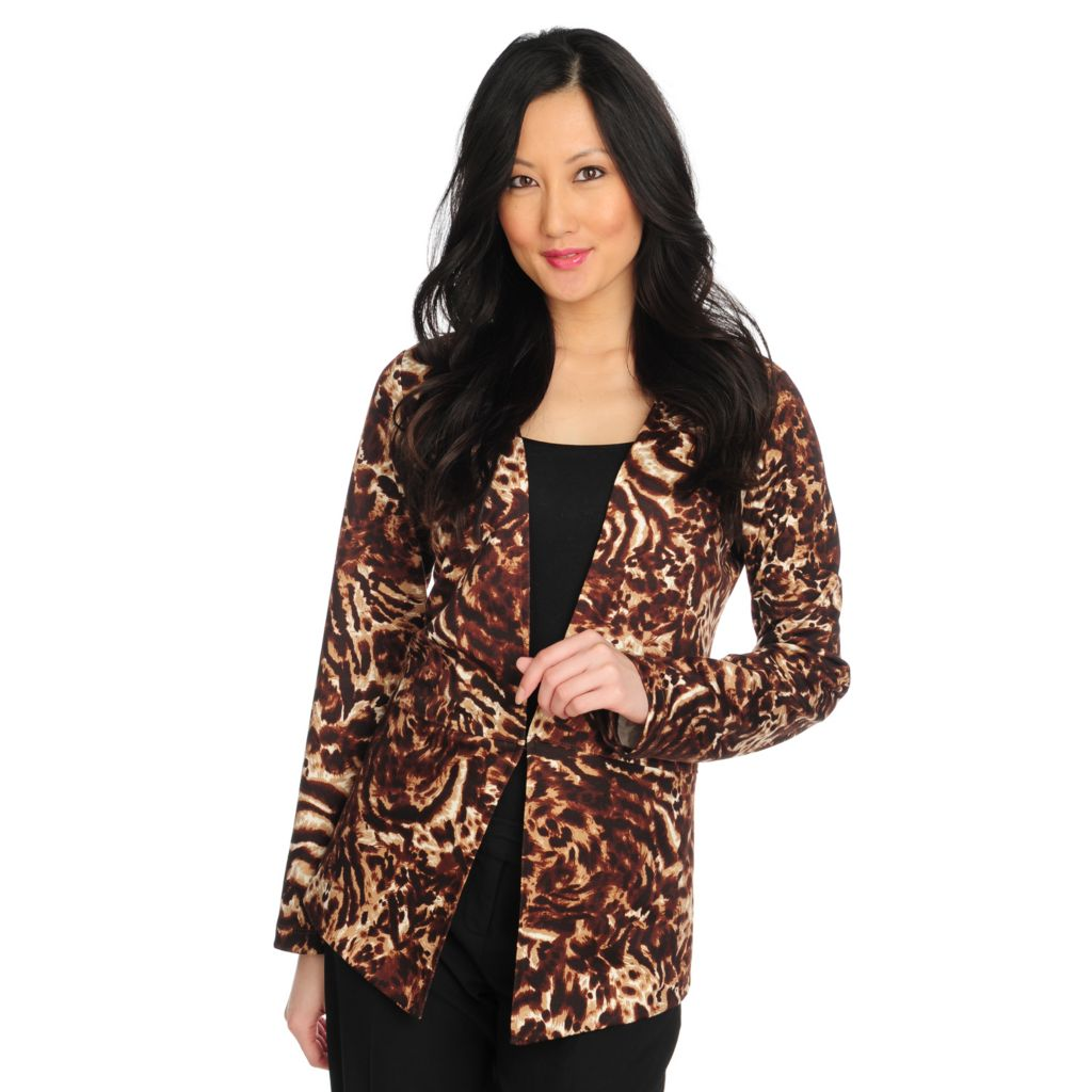 714-410 - Love, Carson by Carson Kressley Stretch Knit Long Sleeved Printed Blazer