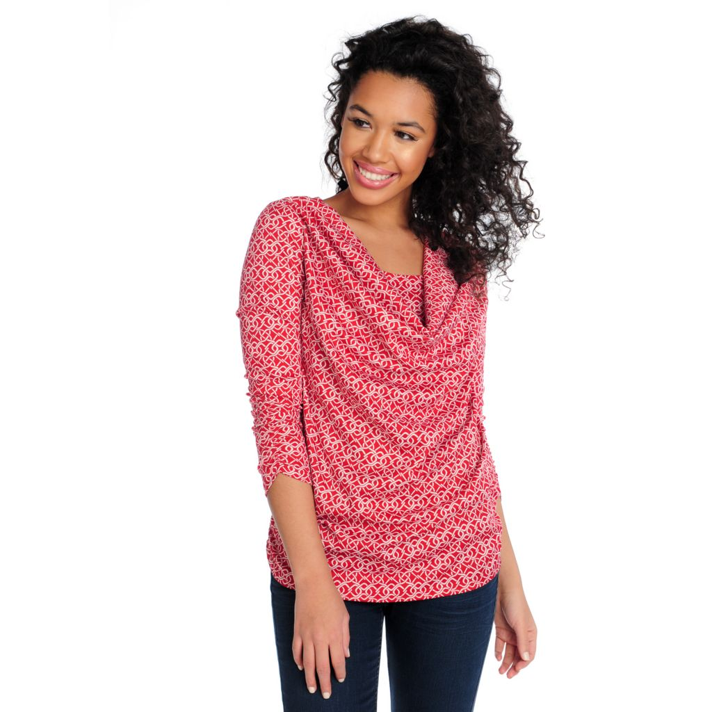 714-413 - Love, Carson by Carson Kressley Stretch Knit Ruched Sleeve Drape Neck Top