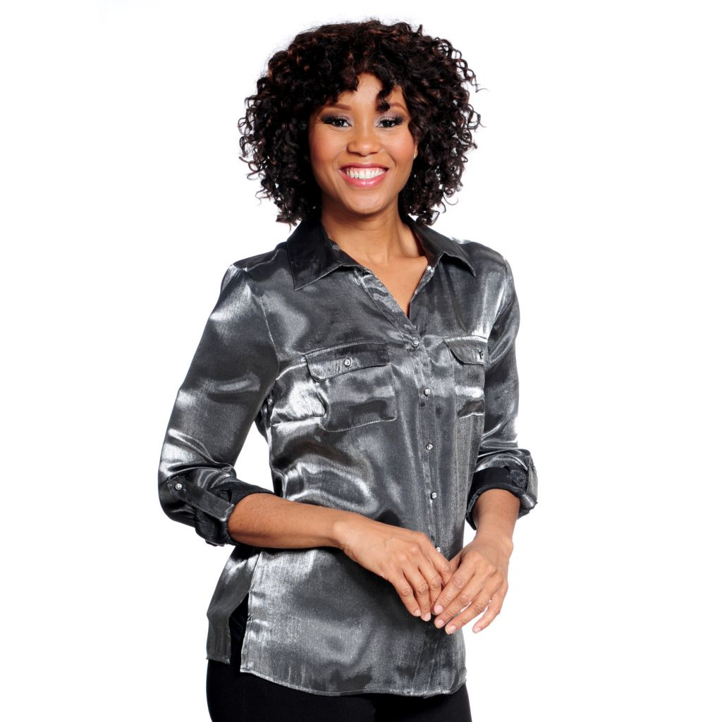 714-422 - Glitterscape Metallic Woven Roll Tab Sleeved Embellished Button Equipment Shirt