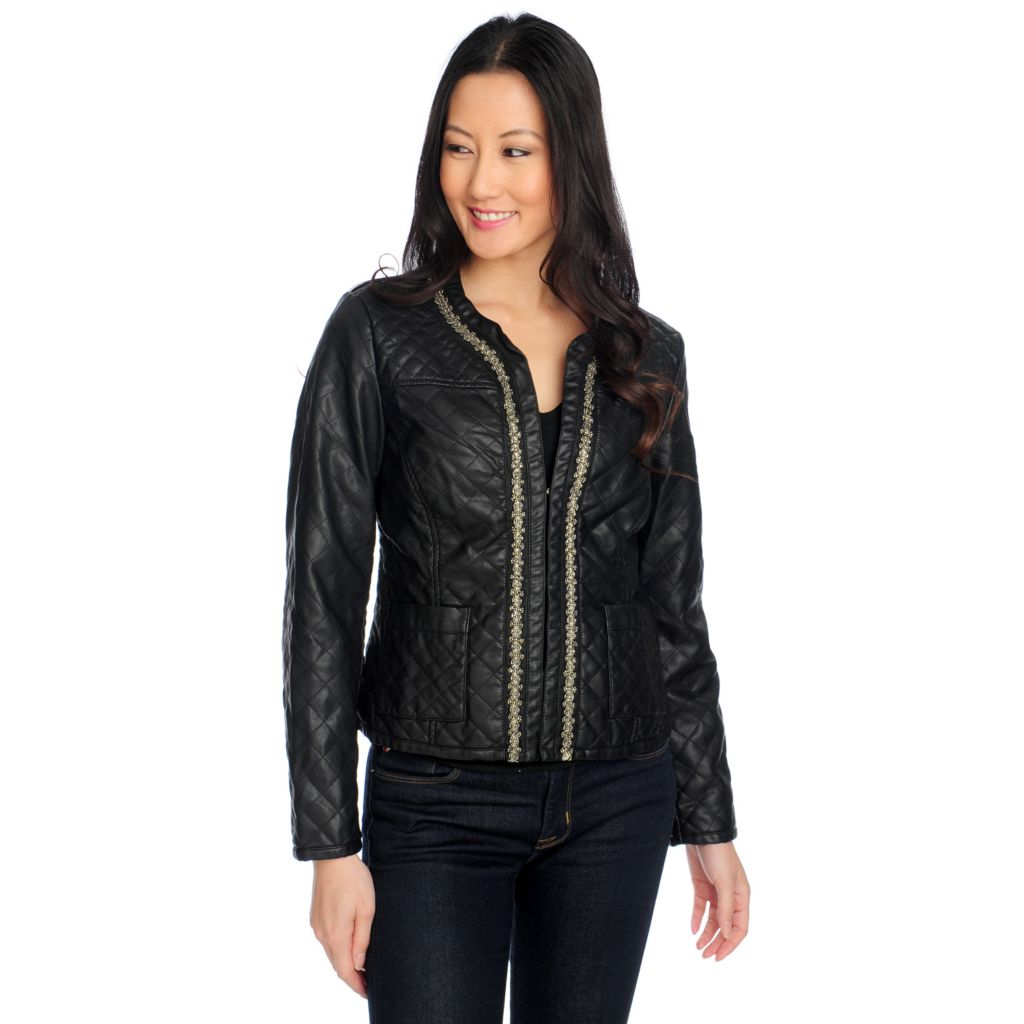 714-426 - Glitterscape Faux Leather Beaded Trim Two-Pocket Quilted Jacket