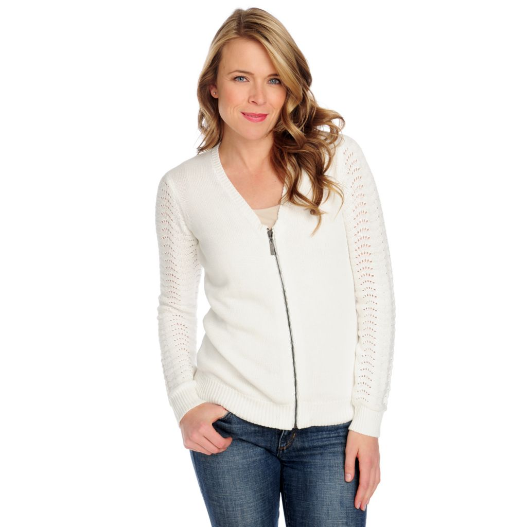 714-428 - OSO Casuals Pointelle Knit Long Sleeved Zip Front V-Neck Cardigan Sweater