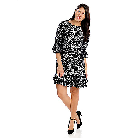 714-434 - aDRESSing WOMAN Printed Knit 3/4 Sleeved Ruffle Trim Dress