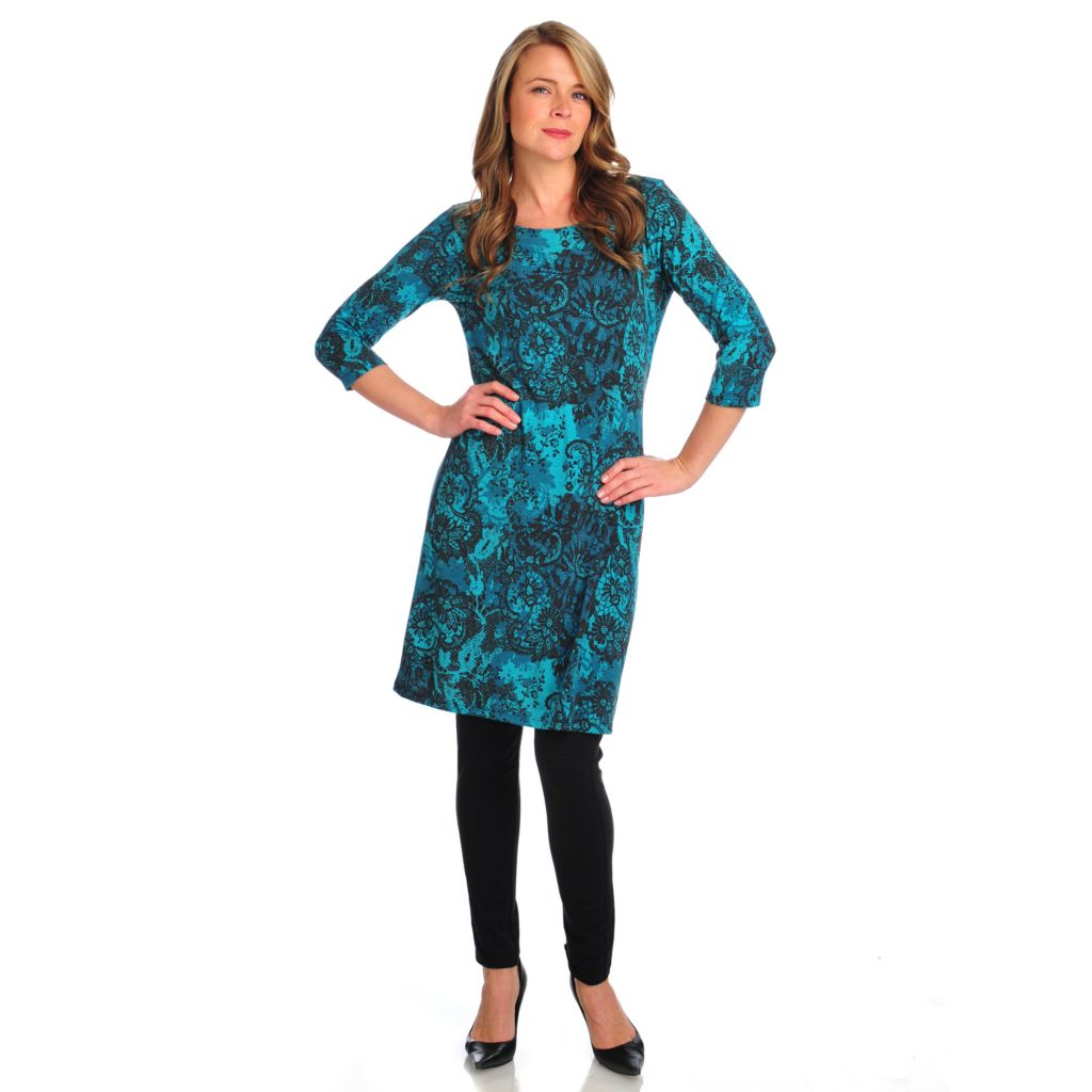 714-435 - Kate & Mallory Stretch Knit 3/4 Sleeved Boat Neck Printed Dress