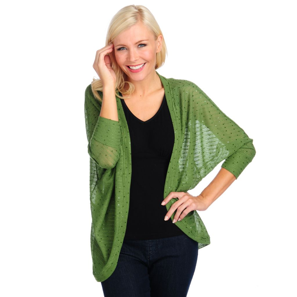 714-437 - Kate & Mallory Open Knit Dolman Sleeved Open Front Sequined Cardigan