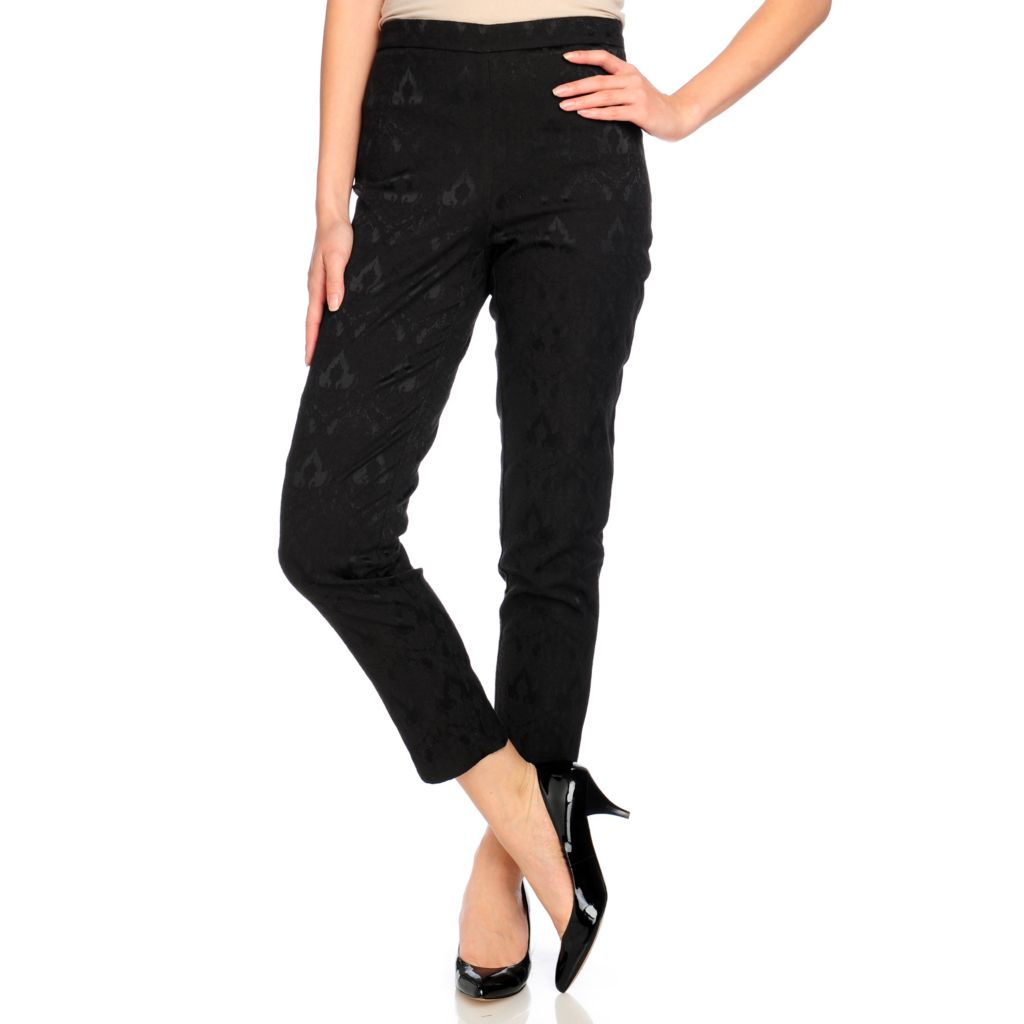 714-438 - Kate & Mallory Jacquard Ankle Length Side Closure Pants