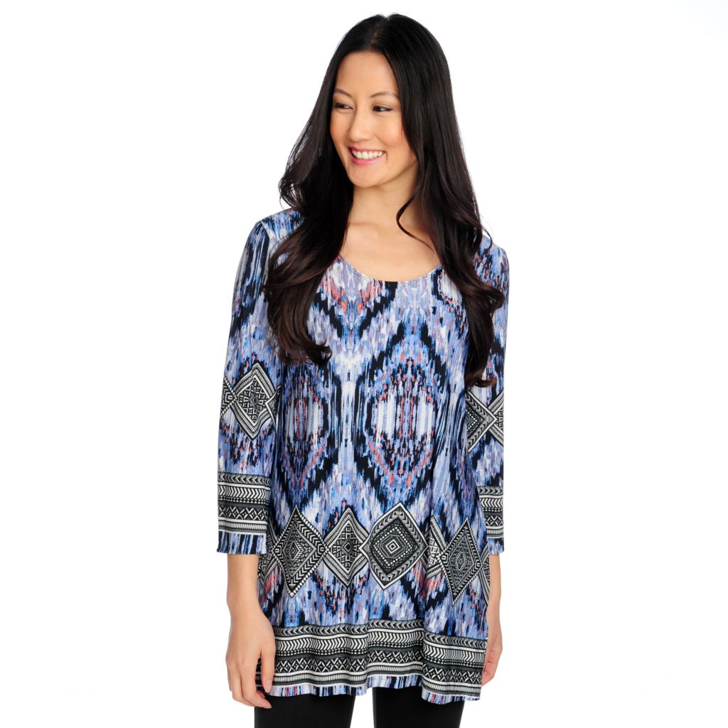 714-439 - Kate & Mallory Stretch Knit 3/4 Sleeved Scoop Neck Printed Top