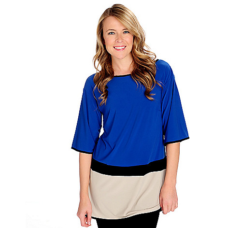 714-444 - aDRESSing WOMAN Stretch Knit Elbow Sleeved Contrast Trim Colorblock Tunic