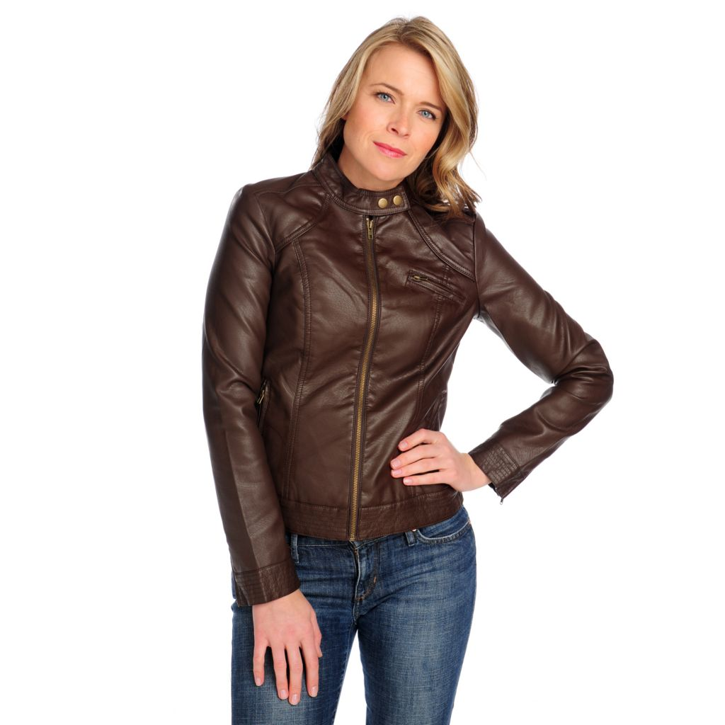 714-449 - Baccini Faux Leather Long Sleeved Zip Front Snap Collar Jacket