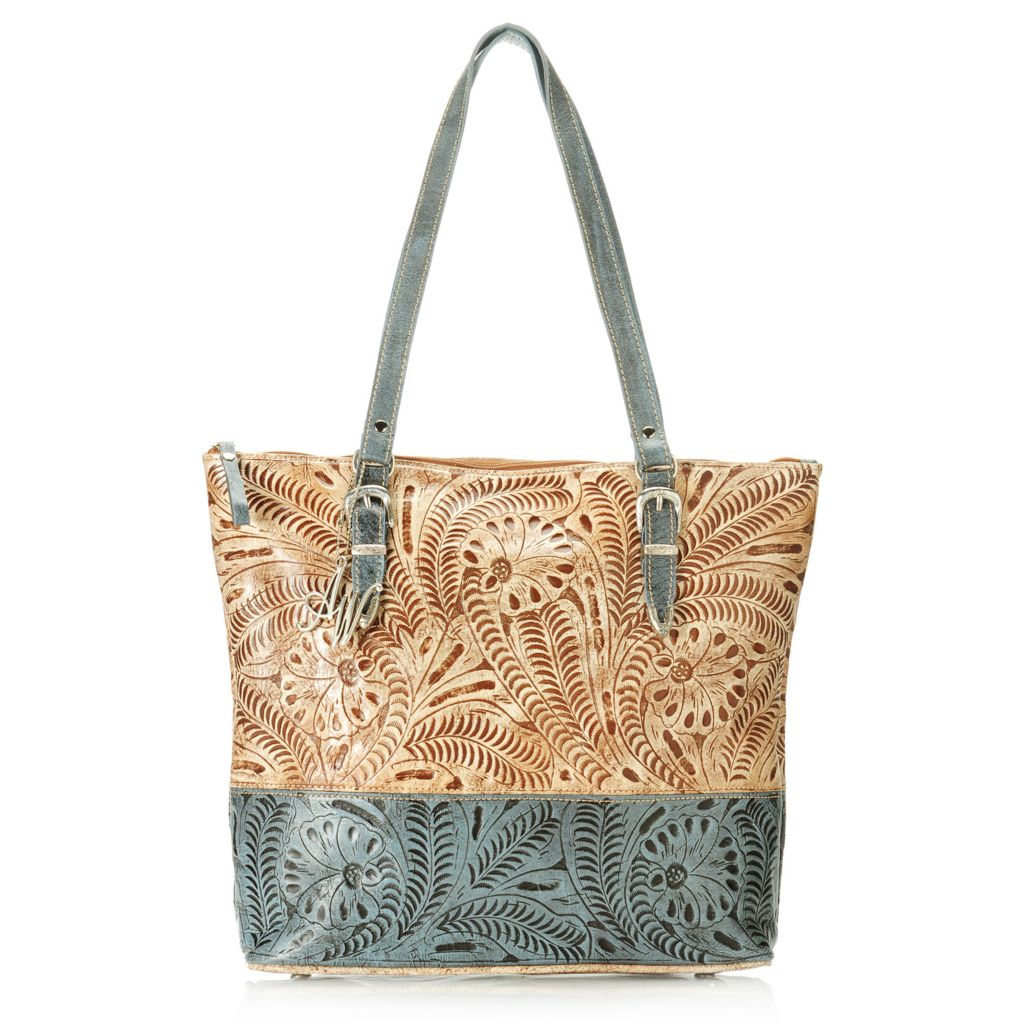 714-452 - American West Hand-Tooled Leather Large Color Blocked Zip Top Tote Bag