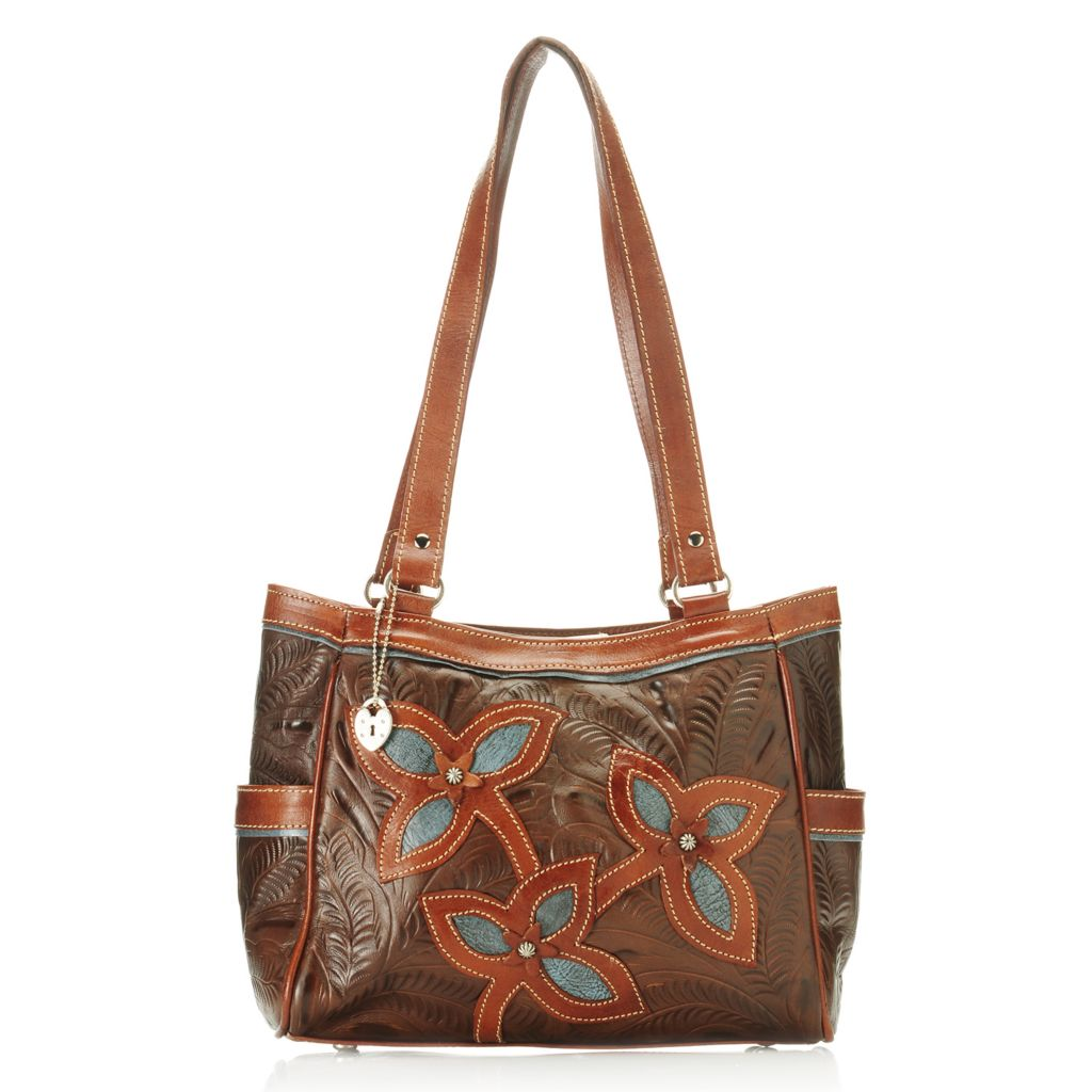 714-453 - American West Hand-Tooled Leather Studded Double Handle Flower Tote Bag
