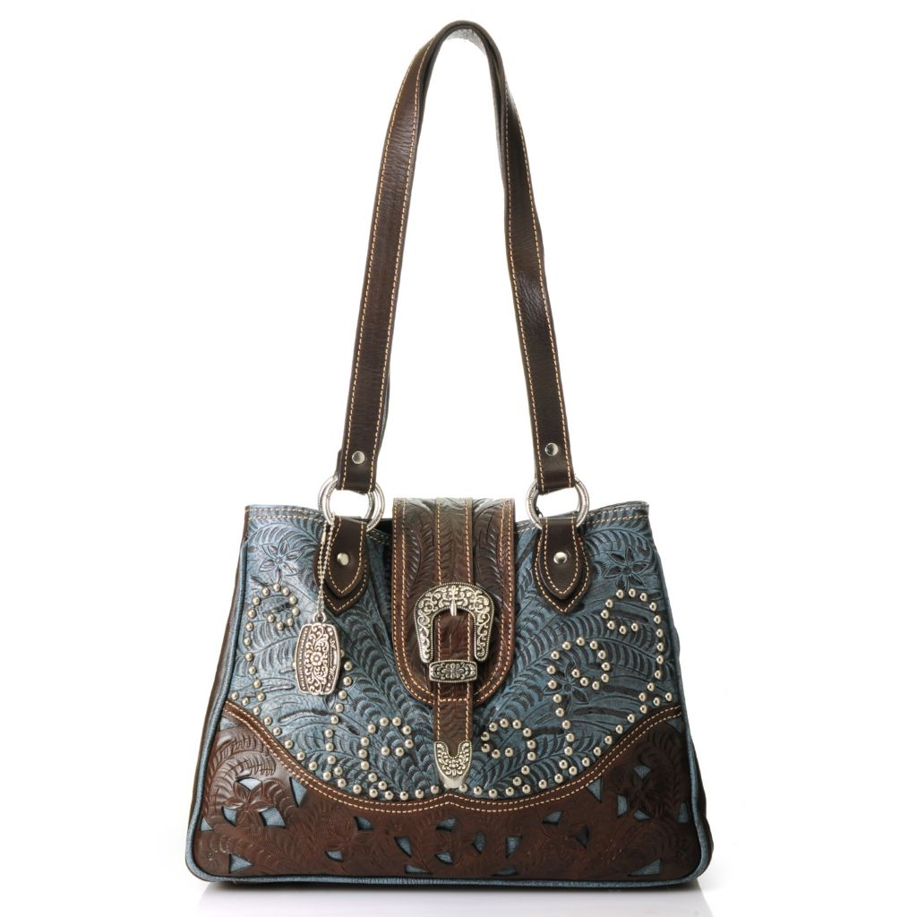 714-454 - American West Hand-Tooled Leather Studded Secret Compartment Tote Bag