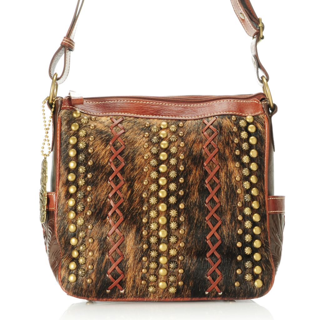 714-456 - American West Hand-Tooled Leather & Cow Hide Studded Zip Top Cross Body Bag