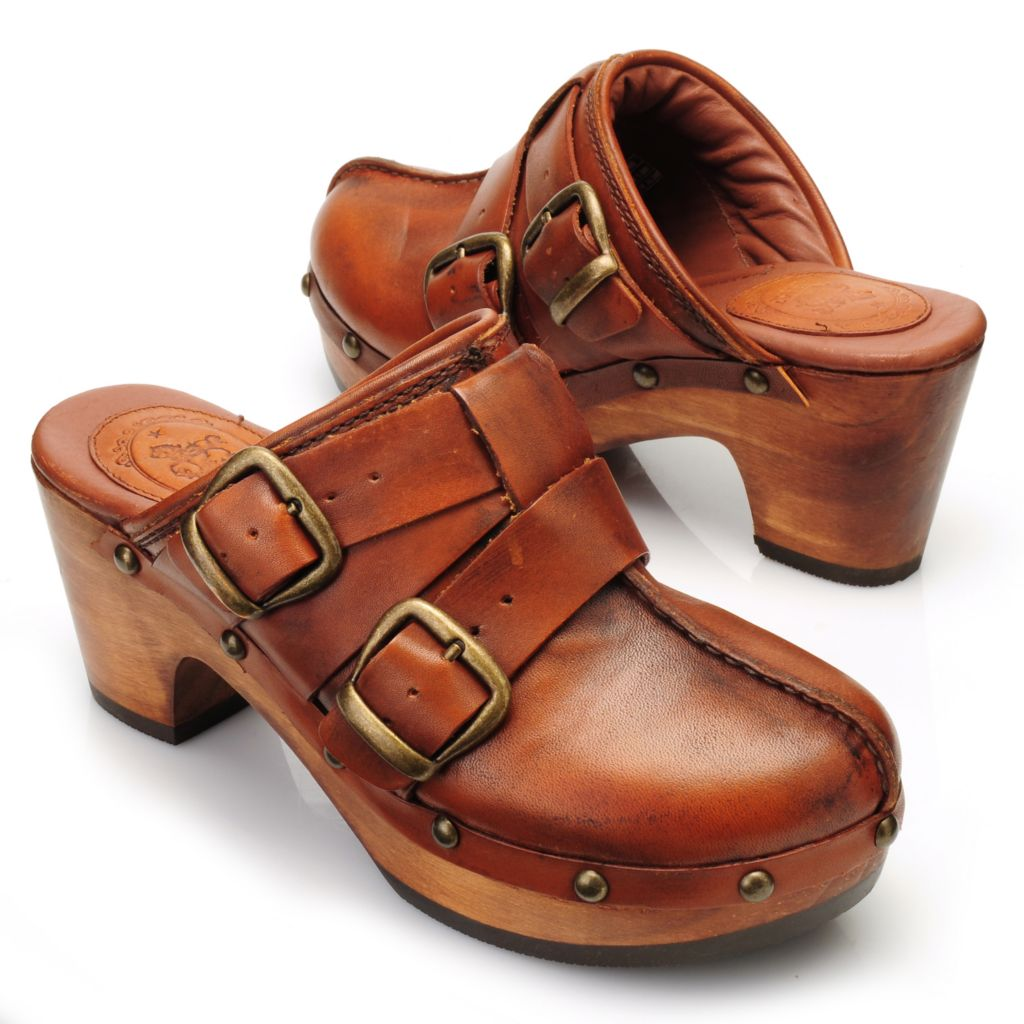 714-459 - Ariat® Leather & Wood Double Belt & Buckle Detailed Backless Clogs