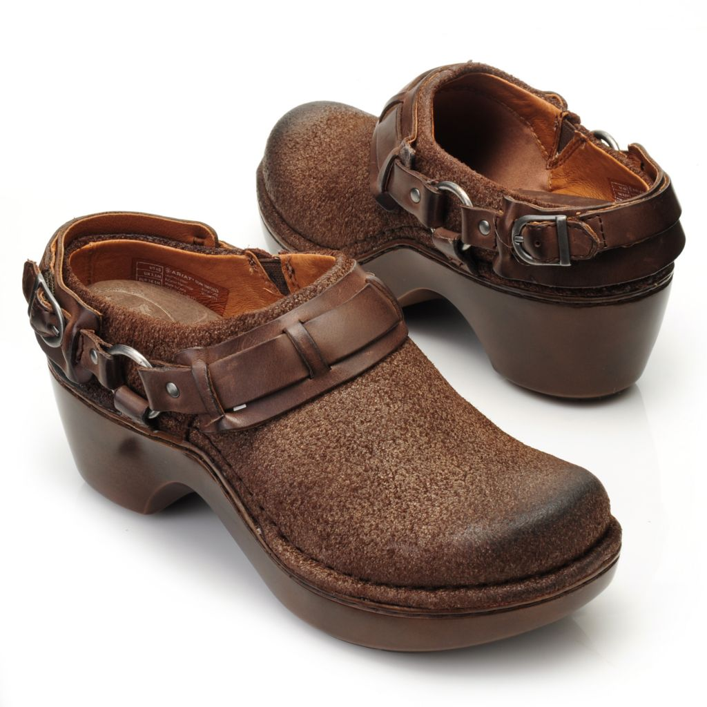 714-460 - Ariat® Leather Harness & Buckle Detailed Slip-on Backless Clogs