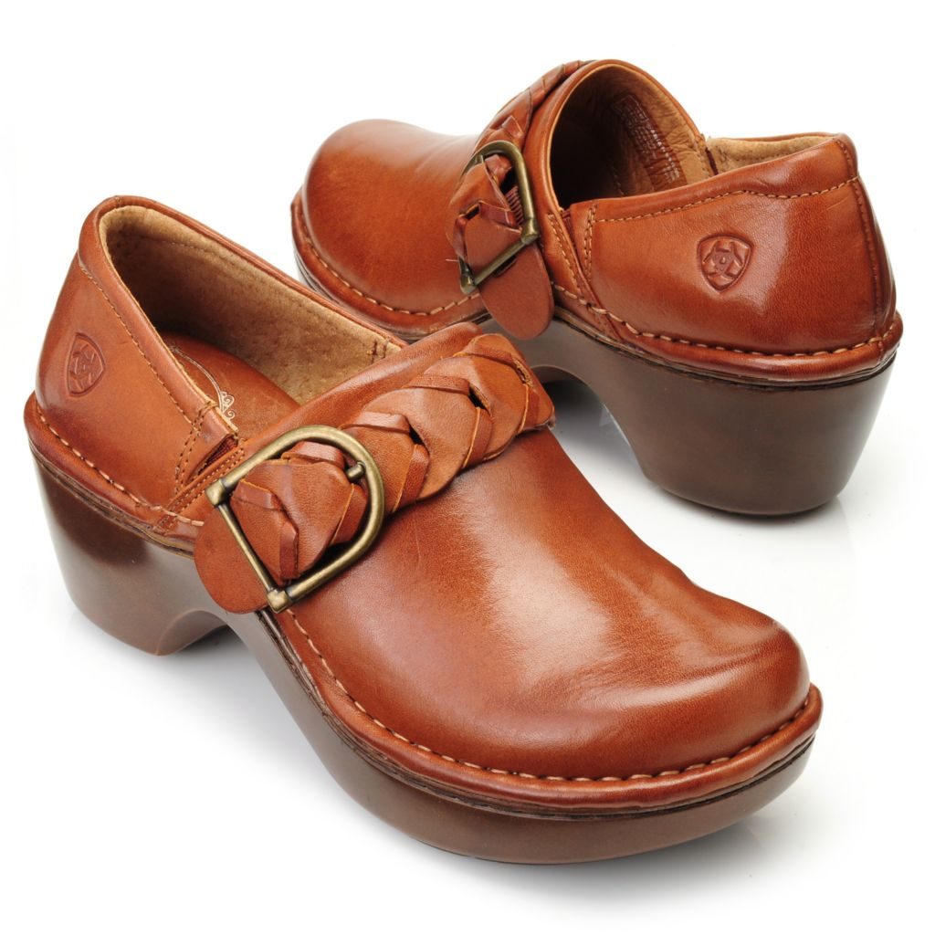 714-461 - Ariat® Leather Equestrian Braid Buckle Detailed Slip-on Clogs