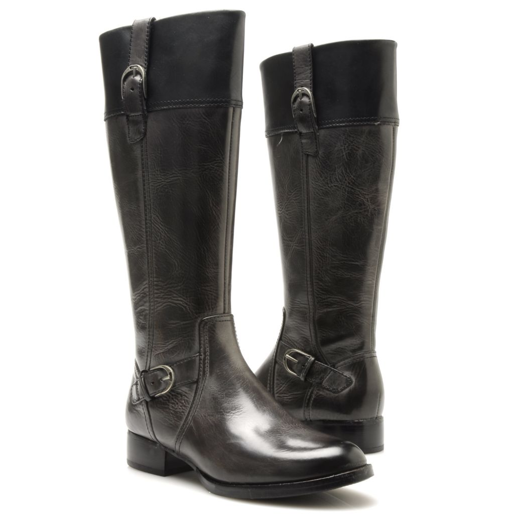 714-464 - Ariat® Leather Buckle Detailed Contrasting Cuff Tall Riding Boots