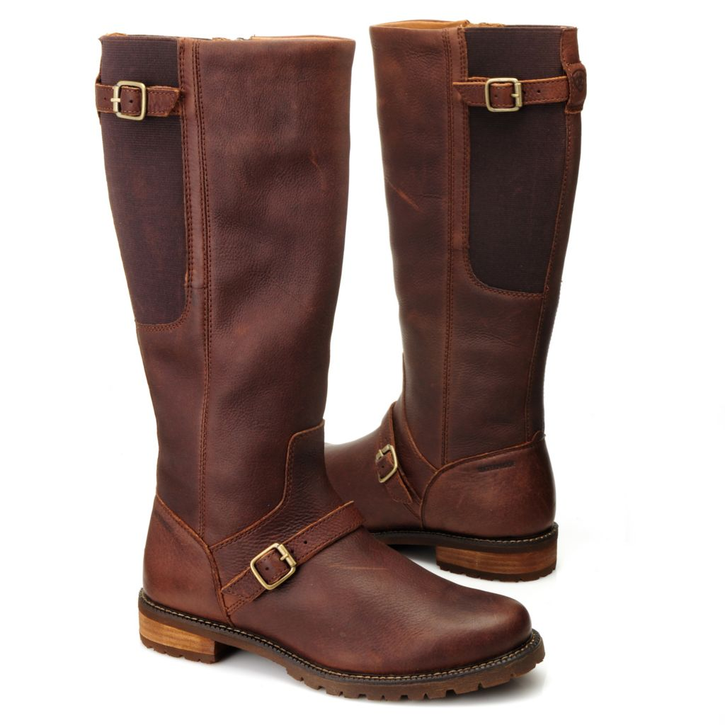 714-466 - Ariat® Leather Buckle & Belt Detailed Side Zip Tall Riding Boots
