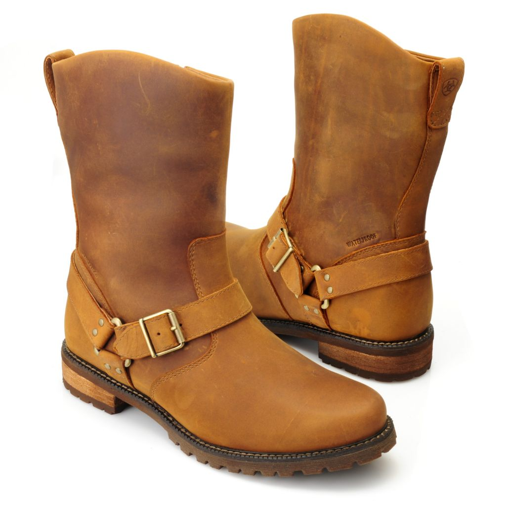 714-467 - Ariat® Leather Buckle & Belt Detailed Side Zip Mid-Calf Boots