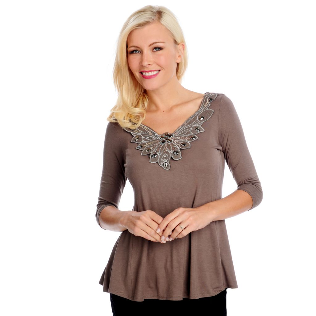 714-469 - Glitterscape Stretch Knit 3/4 Sleeved Embellished Neck Trapeze Top