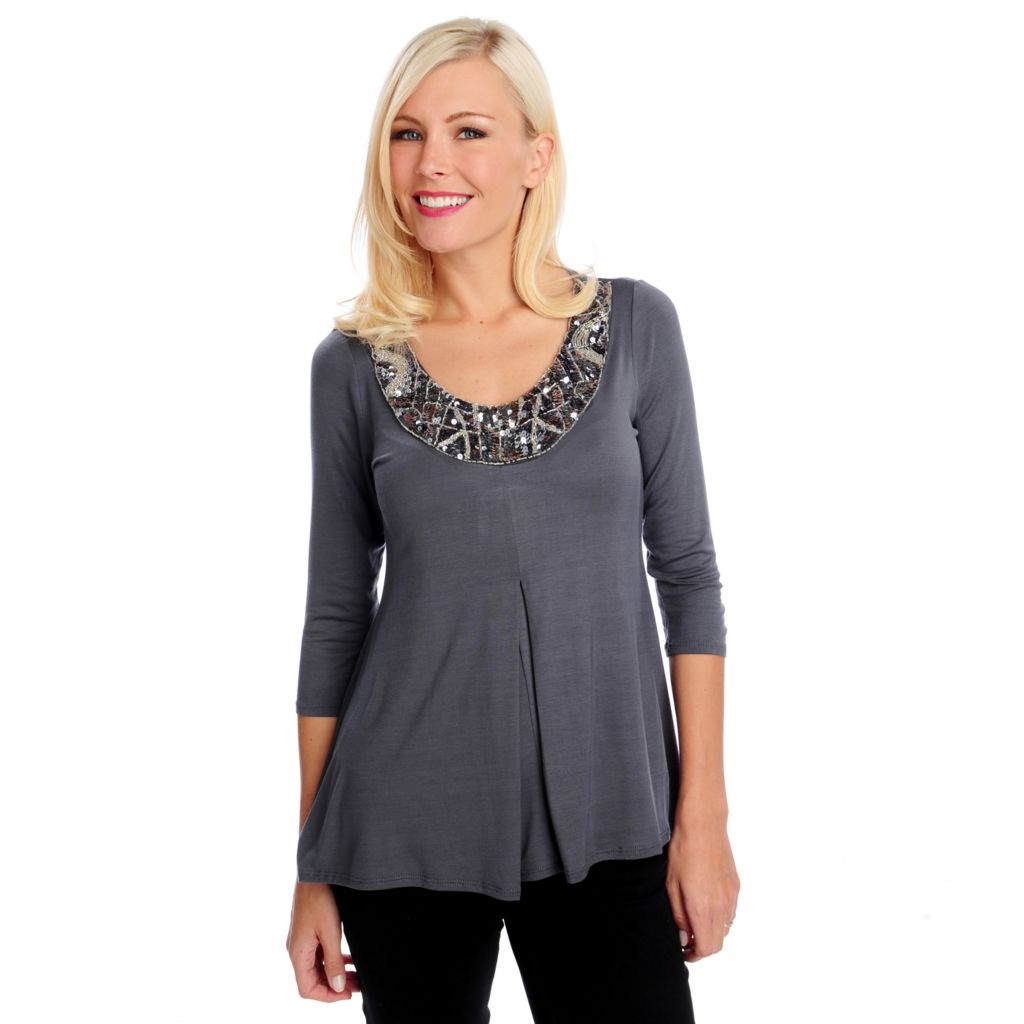 714-471 - Glitterscape Stretch Knit 3/4 Sleeved Embellished Pleated Front Top