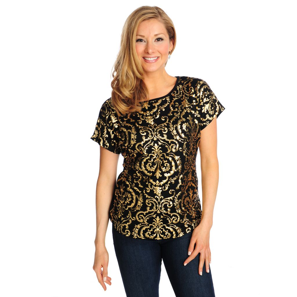 714-475 - Glitterscape Stretch Knit Short Sleeved Dolman-Style Foil Print Top