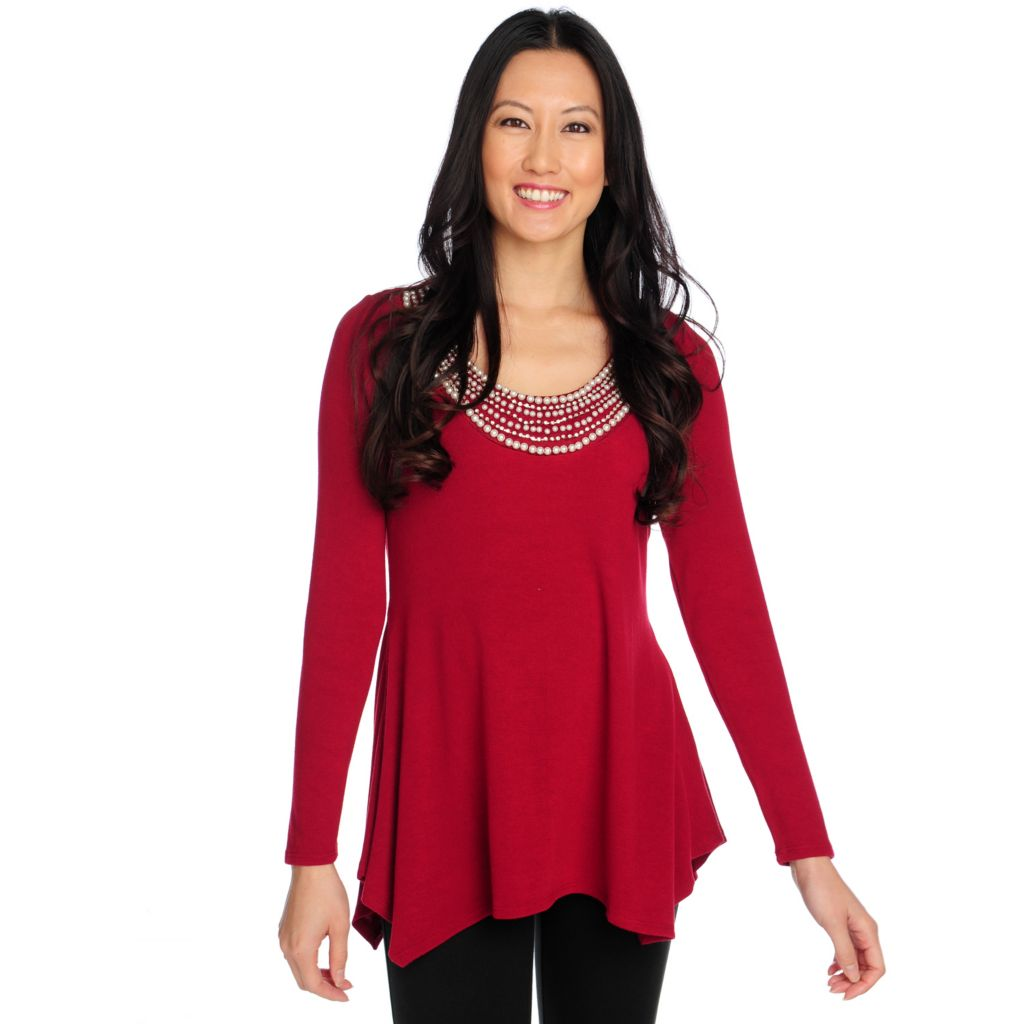 714-477 - Glitterscape Sweater Knit Long Sleeved Beaded Neckline Sharkbite Hem Top