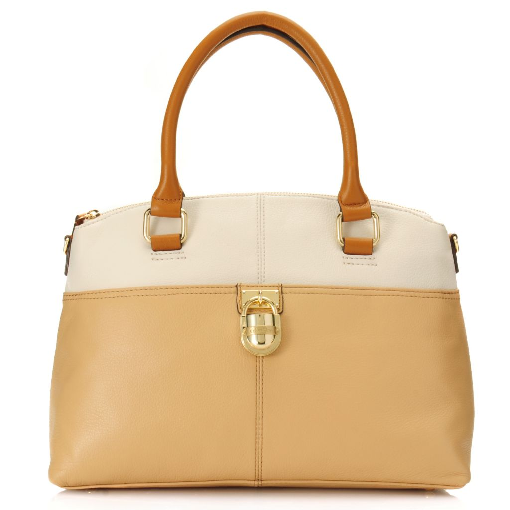 714-483 - Calvin Klein Handbags Pebbled Leather Convertible Domed Satchel
