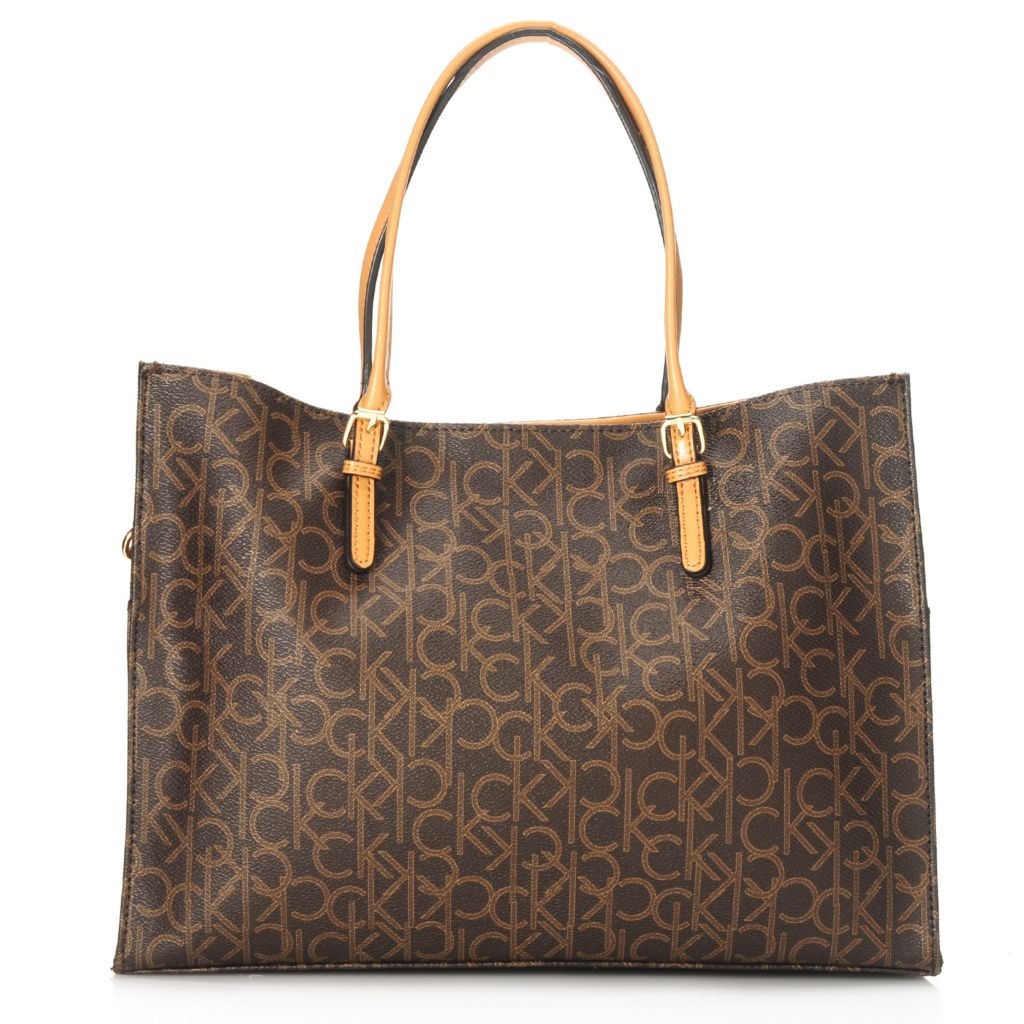 714-495 - Calvin Klein Handbags Logo Coated Canvas Convertible Tote