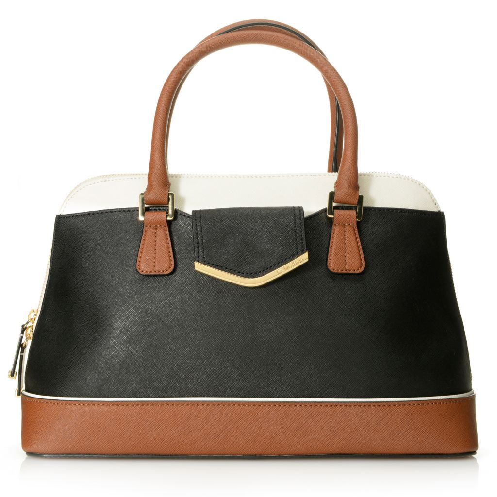714-501 - Calvin Klein Handbags Saffiano Leather Convertible Domed Satchel