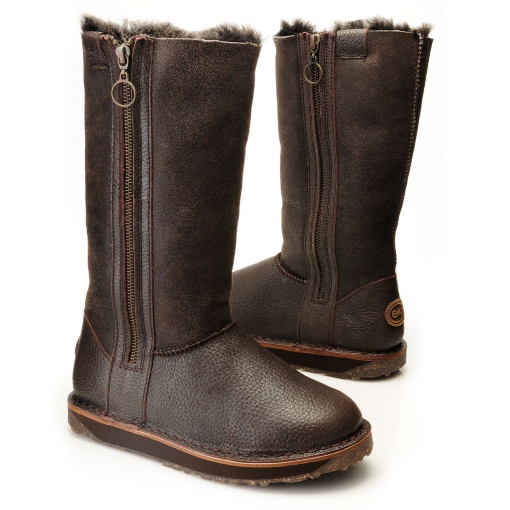 714-529 - EMU® Textured & Glazed Sheepskin Side Zip Tall Boots