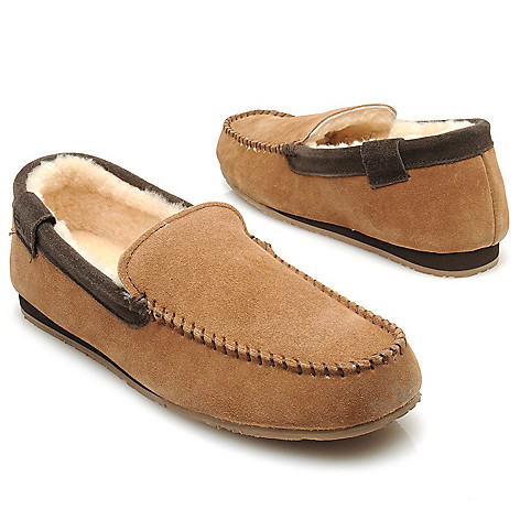 714-531 - EMU® Men's Suede Leather & Sheepskin Lined Loafer-Style Slippers