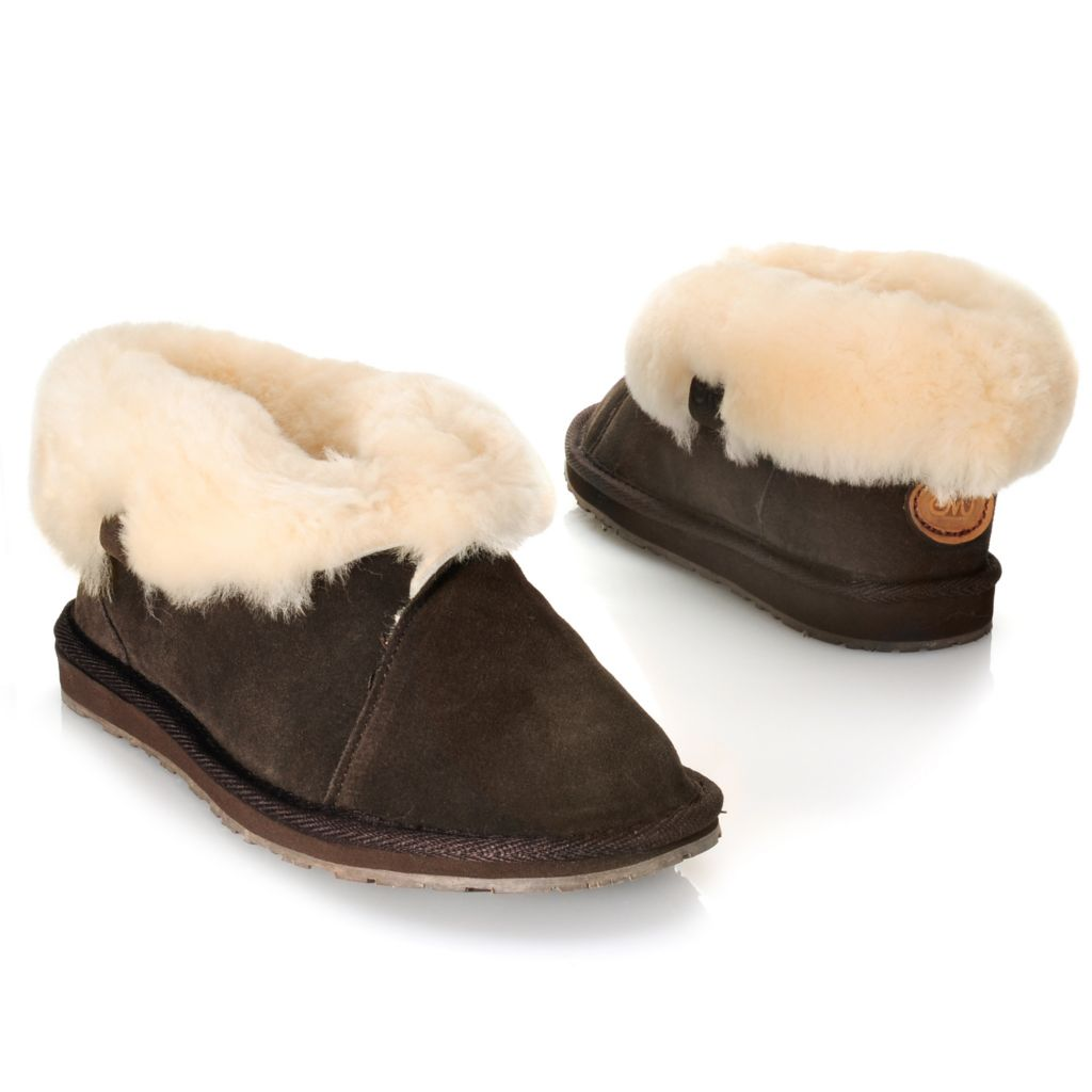 714-532 - EMU® Suede Leather & Sheepskin Lined Crossover Slippers