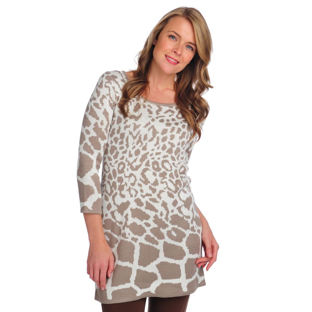 714-538 - Kate & Mallory Jacquard 3/4 Sleeved Scoop Neck Sweater Tunic