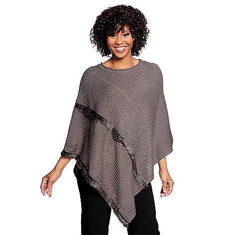 714-540 - Kate & Mallory Ribbed Knit Faux Fur Detail Poncho