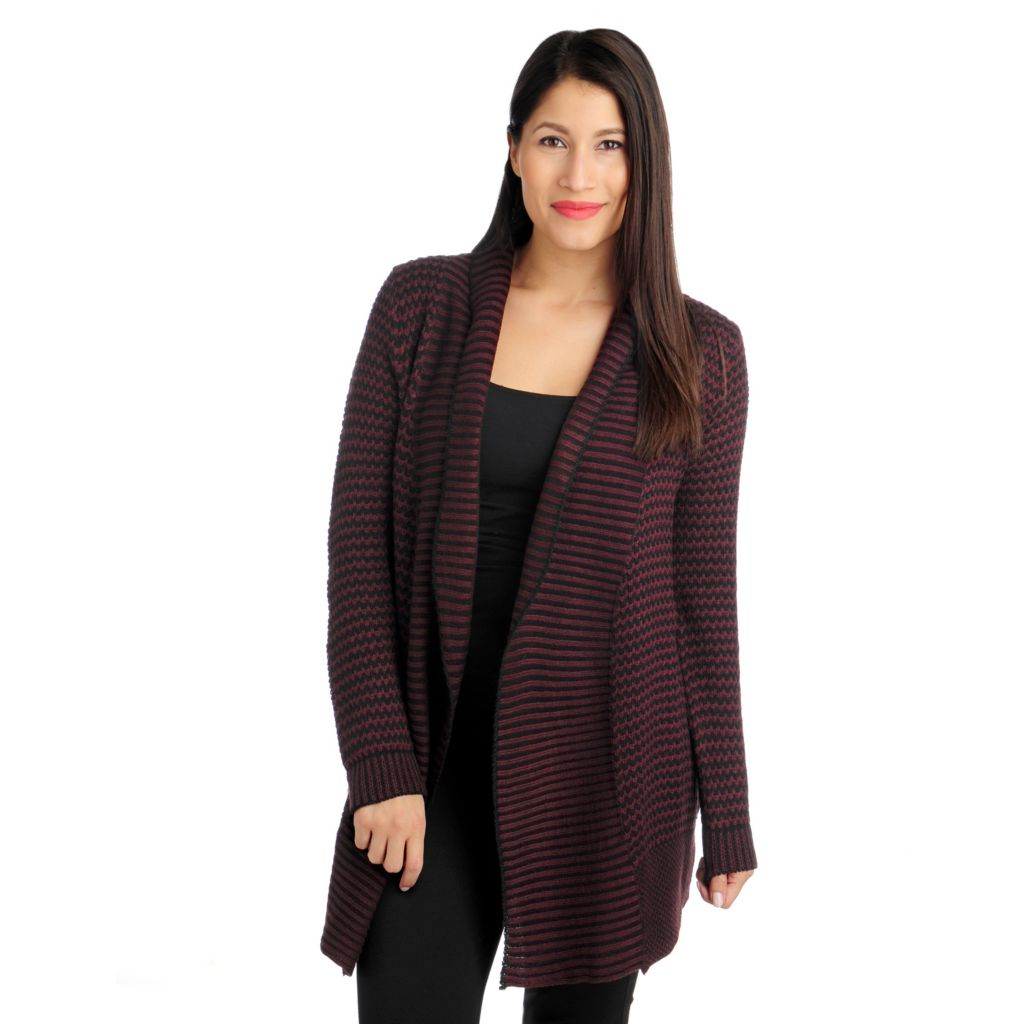 714-547 -  Kate & Mallory Pointelle Knit Long Sleeved Open Front Cardigan Sweater