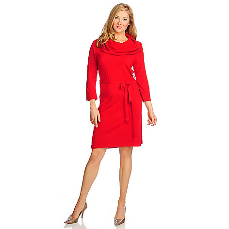 714-549 - Kate & Mallory Sweater Knit 3/4 Sleeved Self-Tie Belt Cowl Neck Dress