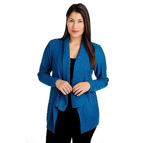 714-551 - Kate & Mallory Sweater Knit Long Sleeved Shawl Neck Open Cardigan