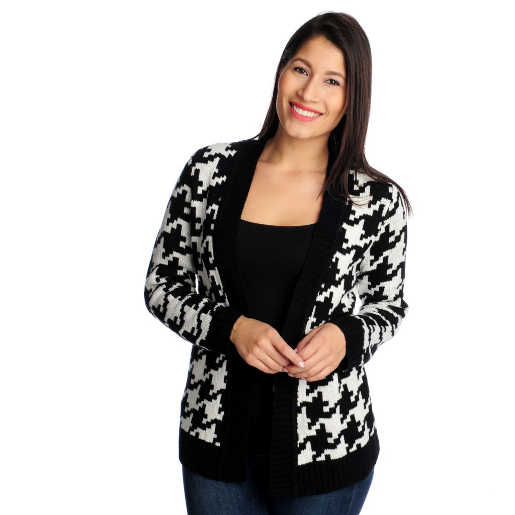 714-552 - Kate & Mallory Intarsia Knit Long Sleeved Open Front Cardigan Sweater