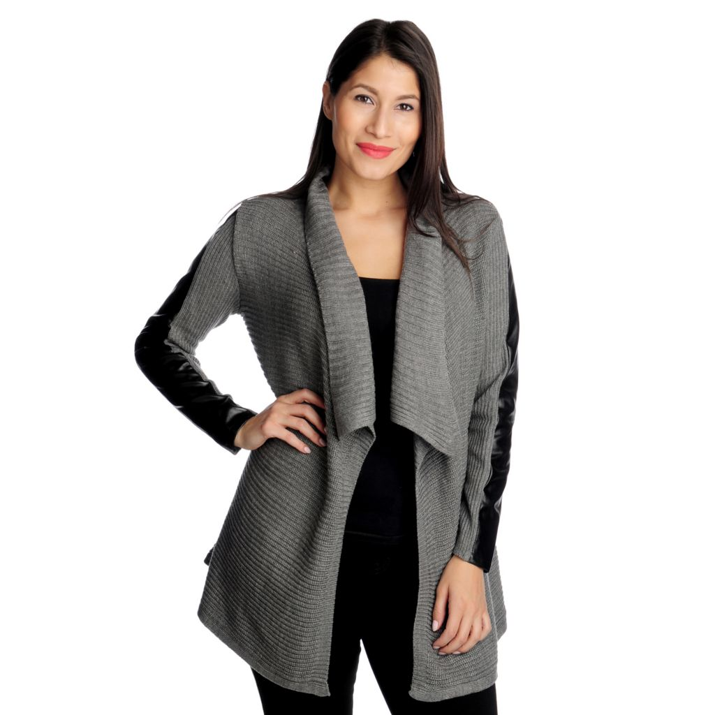 714-553 - Kate & Mallory Sweater Knit Faux Leather Trim Long Sleeved Open Cardigan