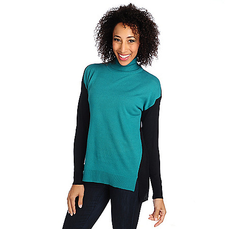 714-579 - Kate & Mallory Fine Gauge Knit Drop Shoulder Color Block Hi-Lo Sweater