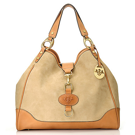714-604 - PRIX DE DRESSAGE Suede Leather Double Handle Hobo Handbag w/ Shoulder Strap